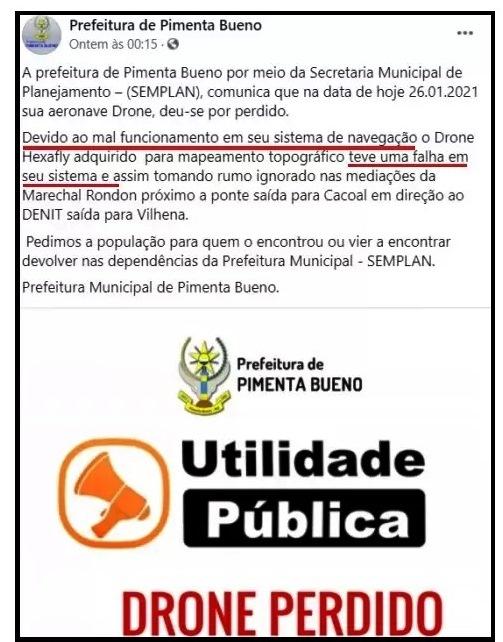 """15712165266012db1d33e5a2.43210202 notadaprefet - Empresário paulista desmente prefeitura de Pimenta Bueno e diz que perda de drone de """"luxo"""" foi por falha da equipe de campo"""